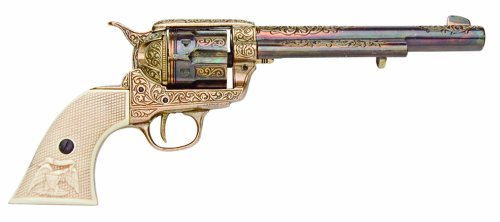 Denix 1873 Engraved Long Barrel Gold Finish Army Revolver with Faux Ivory Handle (Handle Revolver)