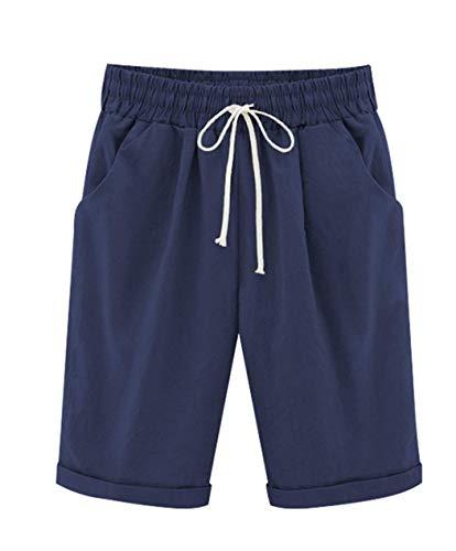 (Vcansion Women's Casual Elastic Waist Knee Length Bermuda Shorts with Drawstring Dark Blue Asian 3XL/US 8-10)