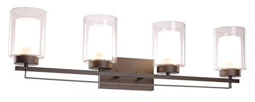 "Wall Light 4 Light Bathroom Vanity Lighting with Dual Glass Shade in Dark Bronze Indoor Wall Mount Light XiNBEi-Lighting XB-W1195-4-DB - DIMENSIONS: W: 34-1/4"" x H: 9"" extends 6-1/4"" from the wall MEDIUM BASE SOCKET: Suggest to take four maximum 60 watt Medium base bulbs (incandescent, CFL or LED compatible). Bulbs not included FEATURE: Hardwired, Dark Bronze vanity light fixture with dual glass shade; Fixtures can be mounted as either up light or downlight. - bathroom-lights, bathroom-fixtures-hardware, bathroom - 31z0c%2BmVGxL -"