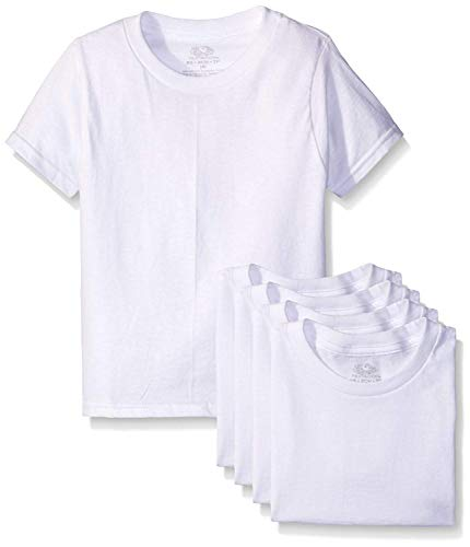 Fruit of the Loom Boys' Cotton White T Shirt (Small/44-68 lbs, White Ice (5 Pack)) (Fruit Of The Loom Boys Tshirts)