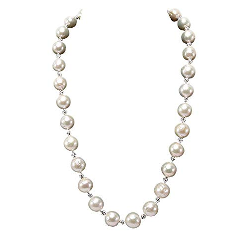 (JYX Pearl Strand Necklace 10-13mm White Round Edison Freshwater Pearl Necklace for Women)