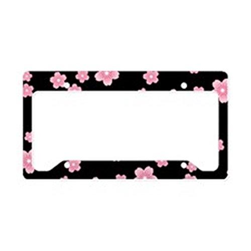 (CafePress Cherry Blossoms Black Pattern License Plate Holder Aluminum License Plate Frame, License Tag)
