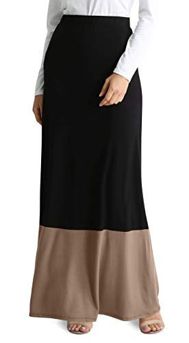 Womens Long Maxi Skirt Reg and Plus Size High Waisted Flowy Maxi Skirt - USA (Size XX-Large US 12-14, Black - Toffee)