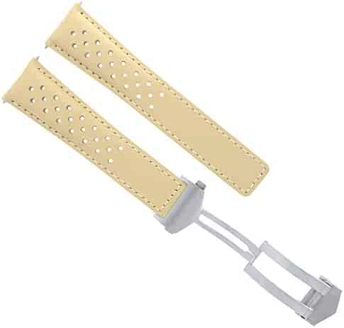 07f96b87e 20/16MM Leather Watch Strap Deployment Clasp 20MM for TAG HEUER Monza Beige  8TC