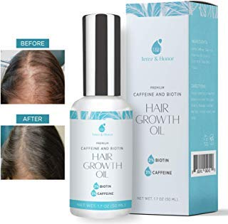 Hair Growth Oil with 2% Biotin 3% Caffeine - Castor Oil, Rosemary Oil, for Stronger, Thicker, Longer Hair and Stimulate New Hair Growth 1.7 oz