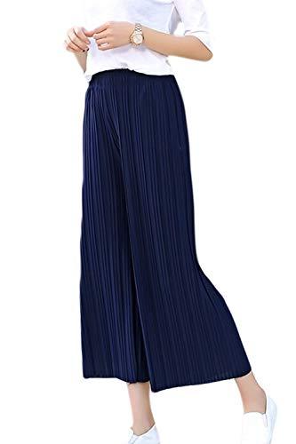 Fasumava Elastica Pantaloni Autunno In Gamba Scurocolor Donne Lunghi Ampia Blu Primavera Casual Piegata qxU6qaEwpZ