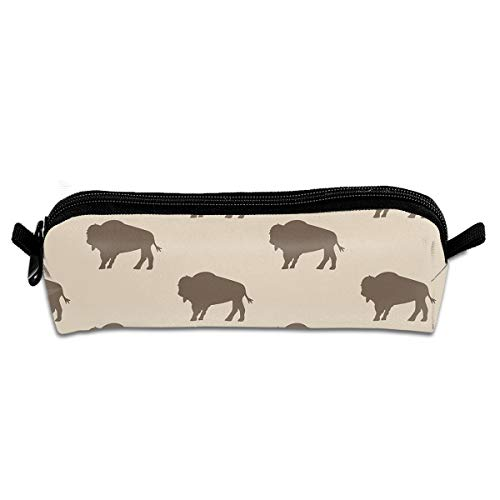 (Neutral Buffalo Bison Herd Pencil Bag Holder Pen Case Coin Purse Pouch Stationery Pouch Bag with Zipper for Girls Kids)