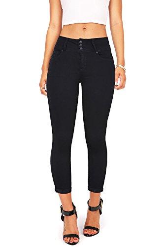 Button Hem Capris - Wax Women's Juniors Mid-Rise Capri Jeans w Cuffed Hem Black