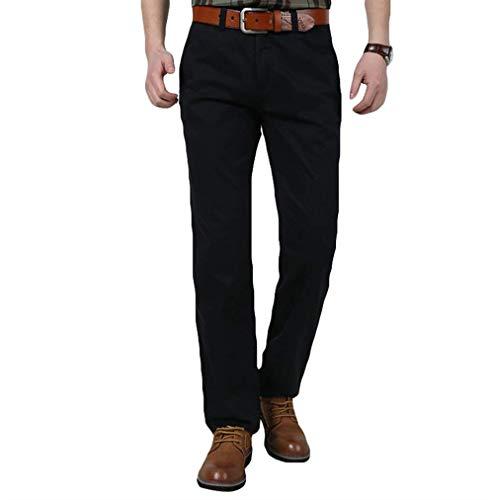 Couleur Latérales Poches Pantalon Travail Bureau Unie De Long Lâche Avec Pour Homme Jambe Noir PZwC4q