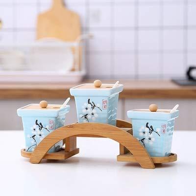 Herb & Spice Tools | Kitchen Supplies Seasoning Jar Ceramic Cruet Salt Pepper Bottle Bamboo Tray Kitchen Seasoning Tool Storage Tank | By ATUTI by ATUTI