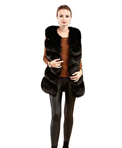 Black Womens Per Vest Fur Folobe Gilet Adulto 'soft Faux 8qa8fw
