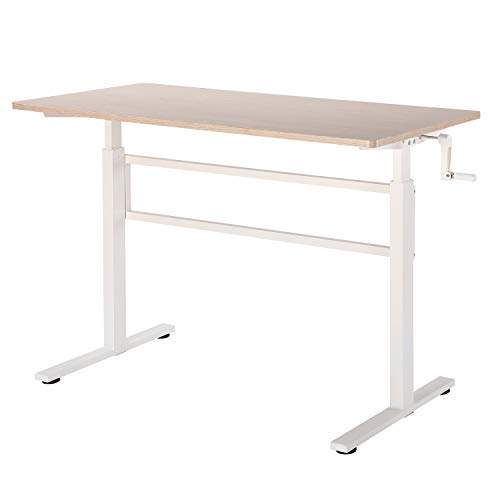 UNICOO-Crank-Adjustable-Height-Standing-Desk-Adjustable-Sit-to-Stand-up-DeskHome-Office-Computer-Table-Portable-Writing-Desk-Study-Table-Light-Maple-TopWhite-Legs-SYK01