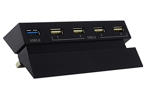 Aweek PS4 5-Port USB Hub with 5 Independent LED Pilot Lamp 3.0&2.0 High Speed Expansion Hub Controller Charger Adapter for Playstation 4 PS4 Gaming - Us Ps4 Bundle Last If