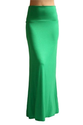 Azules Women'S Rayon Span Maxi Skirt - Green ()