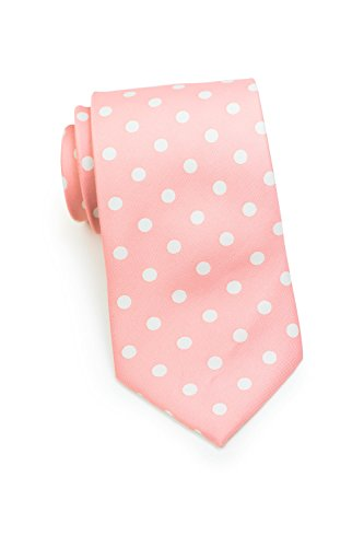 Bows-N-Ties Men's Necktie Bold Polka Dot Microfiber Satin Tie 3.1 Inches (Pink and White) (Pink And White Polka Dot Bow Tie)