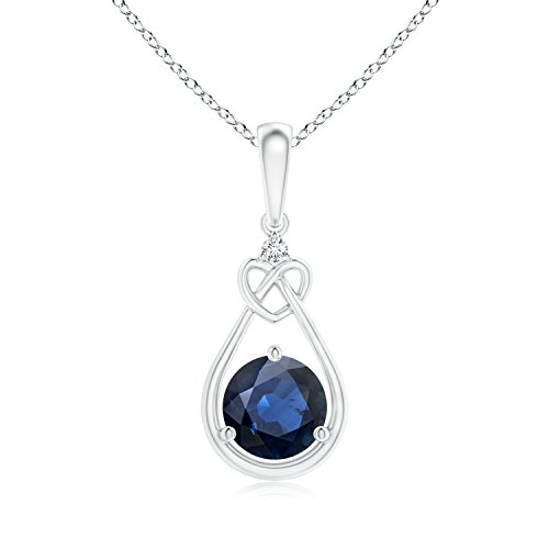 - Floating Drop Sapphire Knotted Heart Necklace with Diamond in 14K White Gold (6mm Blue Sapphire)