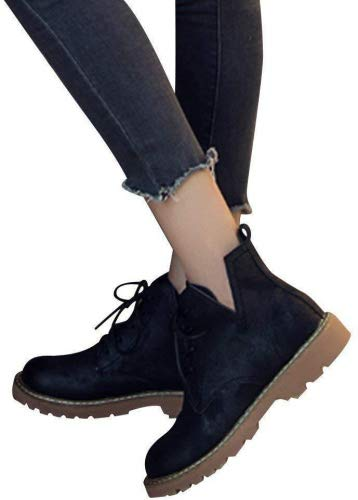 1cbcef986b70a Amazon.com: Kinrui Women's Lace up Low Heel Work Combat Boots Fake ...