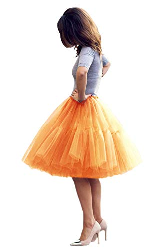 Classic Women's 5 Layers Tulle Prom Party Tutu Skirt(Orange,One Size) -