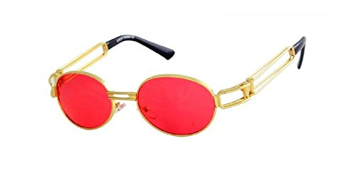 Slim Round Classic Oval Luxury Steampunk Sunglasses (Gold Metallic Frame, - Biggie Sunglasses