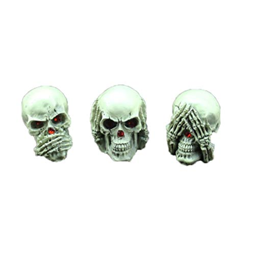 XOBULLO 3 Pcs Resin Mini Horror Human Skull Statue Handmade Creative Halloween Props Sculpture Gift Home Decor]()