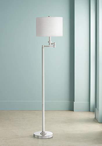 (Modern Swing Arm Floor Lamp Chrome Pleated Drum Shade for Living Room Reading Bedroom Office - Possini Euro Design)