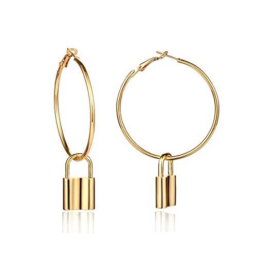 Metal Lock Key - Creative Asymmetric Metal Key Lock Dangle Earrings Minimalist Geometric Big Circle Round Hook Drop Earring Women Fashion Ear Jewelry (Gold lock)