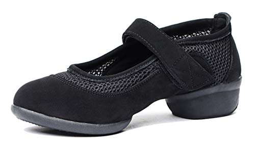 Jazz Latin Lady Tango Ballroom Women's Sports Mesh Dance Sneakers Black Shoes Breathable Dance EwUxUOpqg
