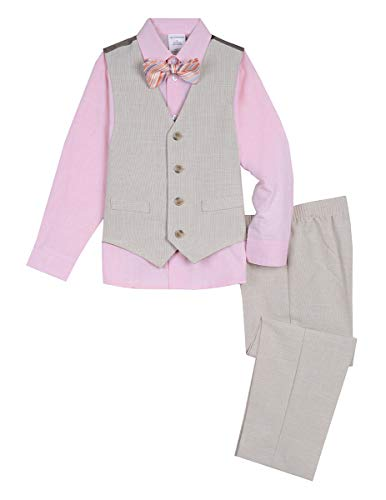 Van Heusen Boys' Toddler 4-Piece Formal Bow Tie Vest Set, Khaki Look, 2T