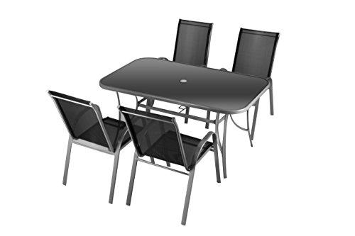 5tlg Set Sitzgarnitur Gartengarnitur Sitzgruppe Stapelstuhl Hochlehner anthrazit