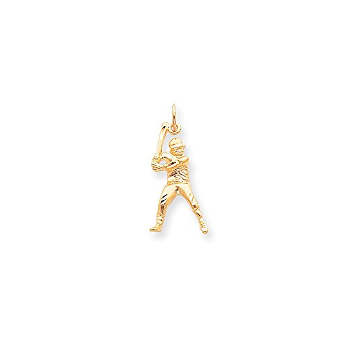 10k Gold Baseball Pendant - Solid 10k Yellow Gold BASEBALL Pendant Charm (16mm x 30mm)