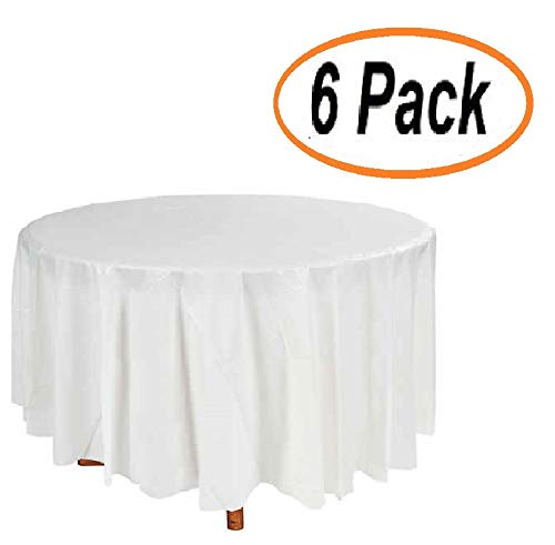 Plastic Tablecloth (6 Pack) Premium Disposable White Tablecloths