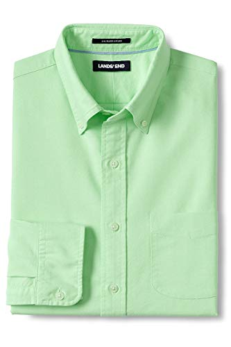 Lands' End Men's Traditional Fit Buttondown Solid Sail Rigger Oxford Shirt, XL, Green Neon ()