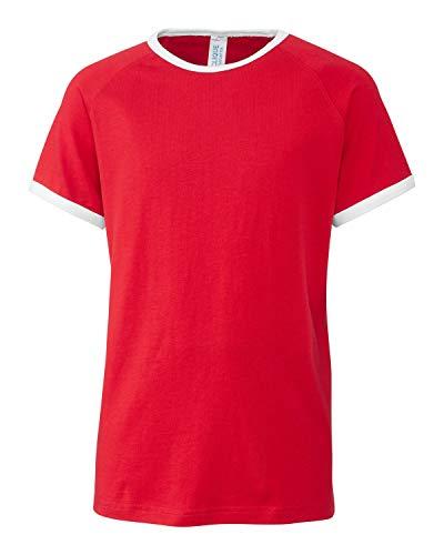 Youth Short Sleeve 100% Cotton Jersey Playlist Ringer Tee - Unisex - Girls/Boys-Red-XL