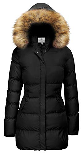 WenVen Women's Winter Thicken Warm Coat with Fur Trim Hood(Black,XL) (Coats Sale Woman Winter)