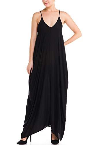 Elan International Maxi Spaghetti Straps Loose Black Dress, Medium -