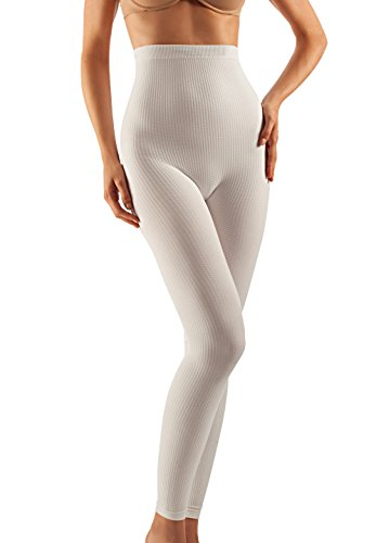 FarmaCell 133 (White, L/XL) Women's High-Waisted Anti-Cellulite micromassage Leggings