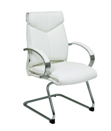 Deluxe Mid Back White Leather Visitors Chair