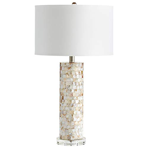 End Table Lamp Mother of Pearl White Shade Modern