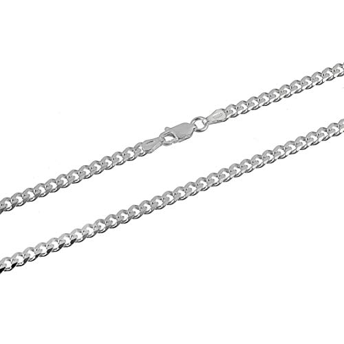 Men's 3.5mm Sterling Silver Curb Link Chain Necklace Cuban Made in Italy 22 inch