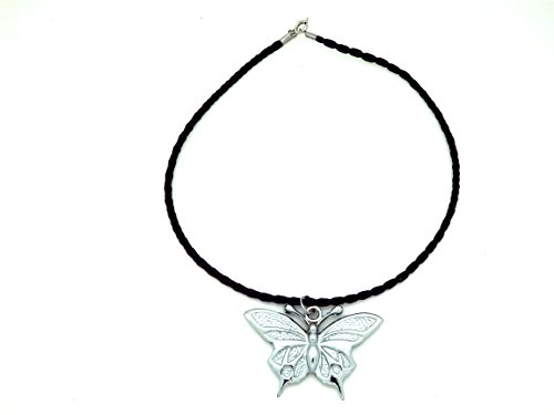 SanAndCo Butterfly Silvertone Rearview Mirror Car Charm Pendant - Gift ()