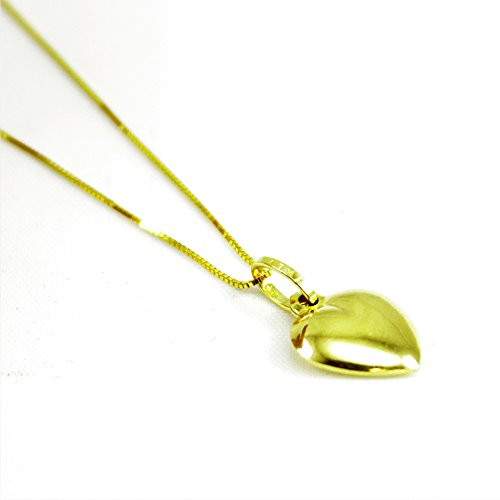 14K Yellow Gold Necklace Round Box Chain Heart Charm Necklace 16
