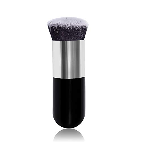 Hanamichi Foundation Round Makeup Brush Flat Top Kabuki for Face - Perfect For Blending Liquid, Cream or Flawless Cosmetics - Buffing, Stippling, Concealer - Premium Quality Synthetic Dense Bristles