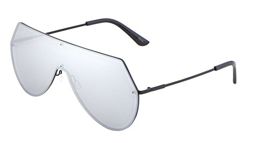 Rimless Oversized Flat Top Shield Aviator Sunglasses (Black Frame, Silver - Aviators Black Oversized