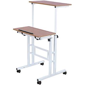 Amazon Com 32 Quot Mobile Ergonomic Stand Up Desk Computer Workstation