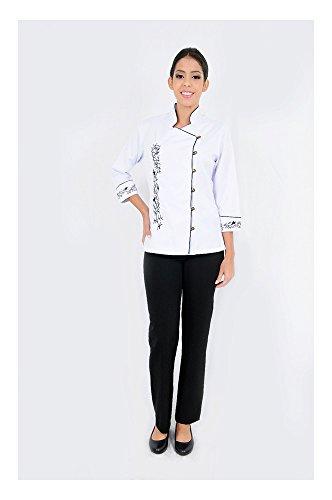 DAM Uniforms Women´s 3/4 Sleeves White Details Oriental Chef Coat