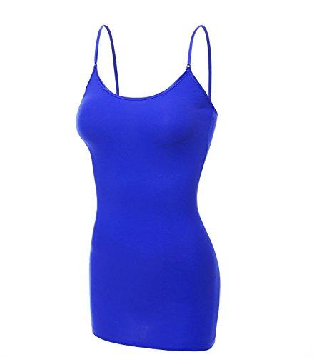 Emmalise Clothing Women's Basic Casual Plain Long Camisole Cami Top Tank, Blue, X-Large