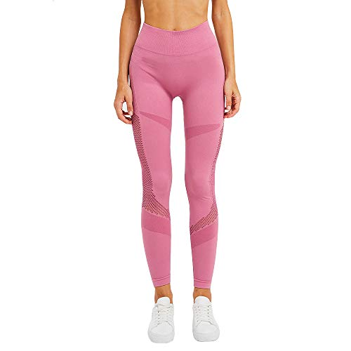 Jacquard Leggings - Women Fashion Seamless Stretch Yoga Pants Dots Jacquard Weave Ombre Workout Leggings Butt Lifting Gym Fitness Sport Capri (M, Pink 3)