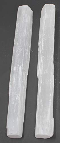 Selenite Sticks 6 to 8.5 Inches long, 1 to 2 inches wide, white healing stone, strong protection powers 2 Pack