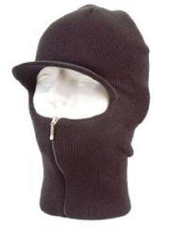 Easy ZIP Down Knit SKI Visor Face Mask Zipper up Balaclava Brim Hunting Hat Cap