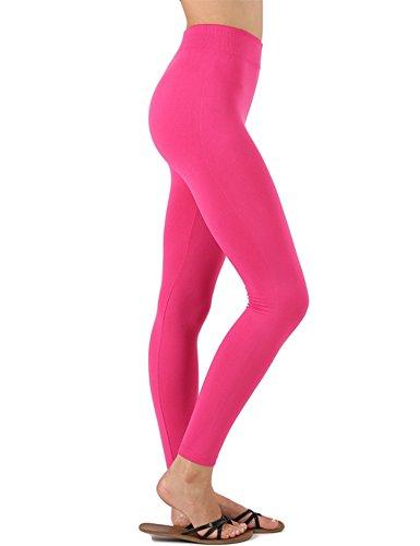KOGMO Womens All Season Premium Seemless Leggings with High Waist (Multi Colors)-S/M-HOT_PINK